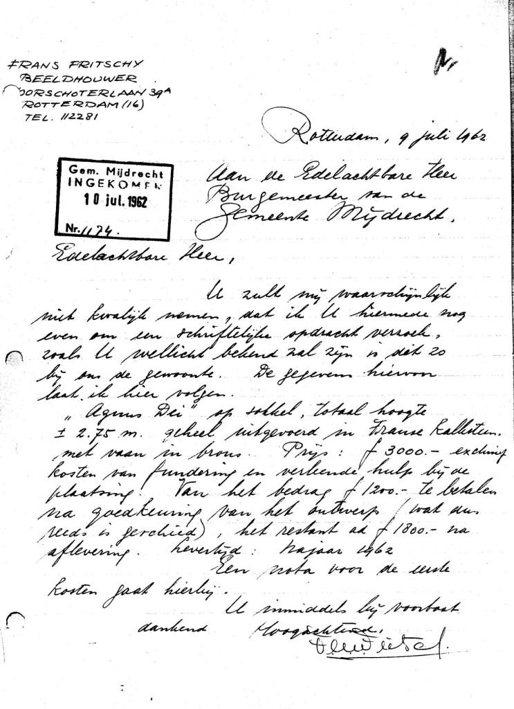 1962-07-09 Lam Gods brief Fritschy aan Gemeente