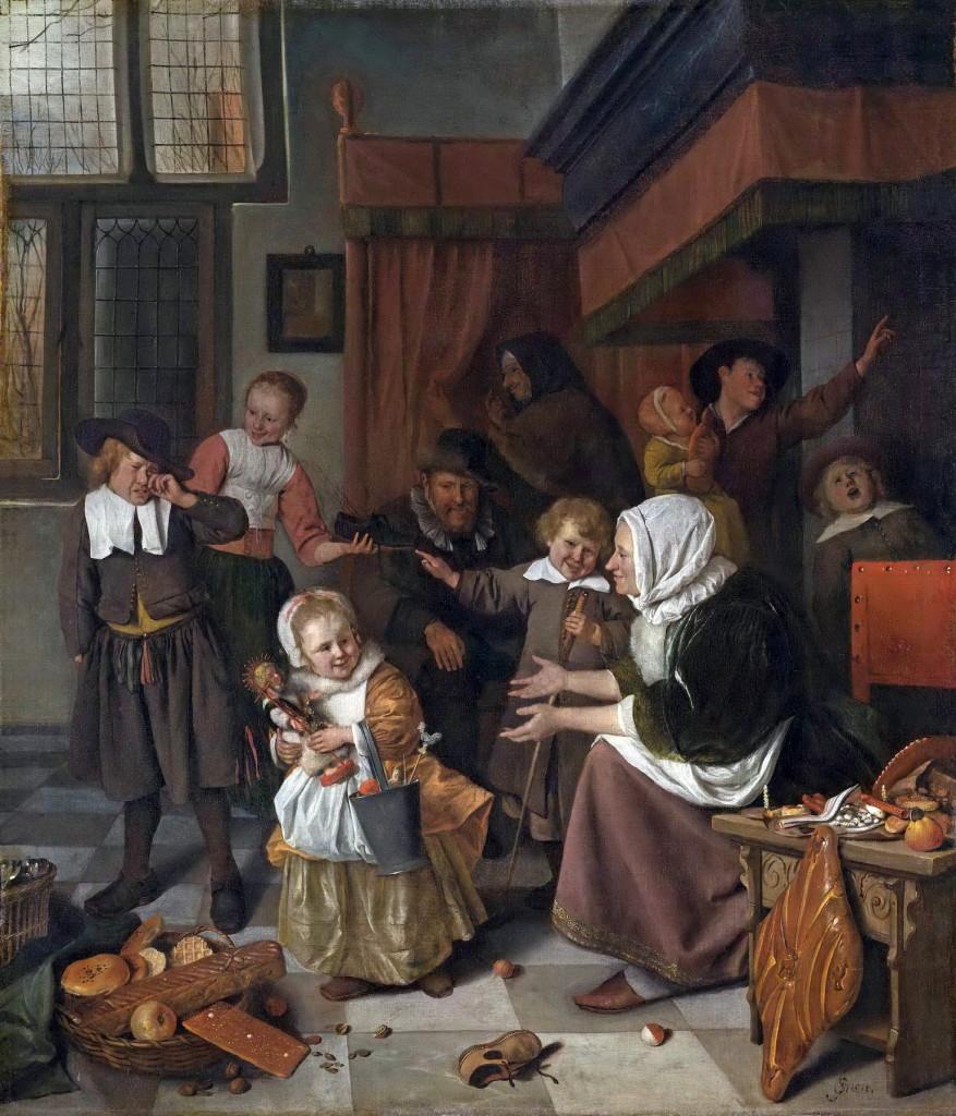 Het Sint Nicolaasfeest, Jan Steen 1665-1668 Rijksmuseum Adam A6 formaat_1800pix