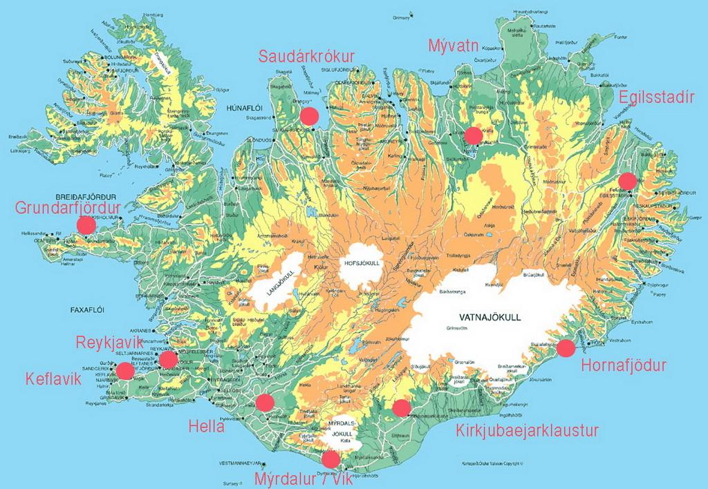 IJsland- 004 - 02 kaart reisdag 0 zonder routes-1024pix