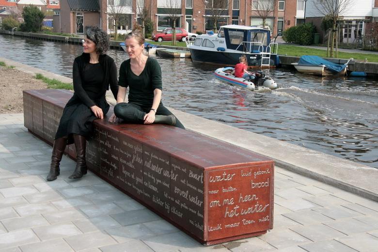 Water ah woord 12-E Pikaar-M Ikonomopoulou-kunstenaars op de bank