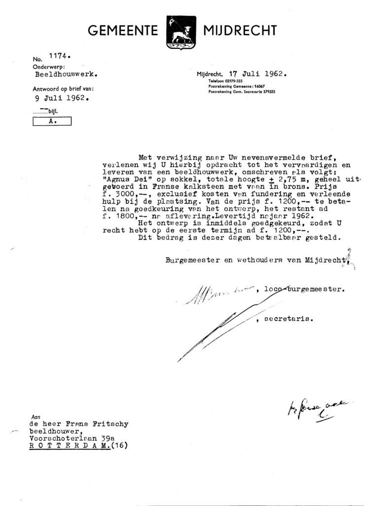 1962-07-17 Lam Gods- brief Gemeente aan Fritschy