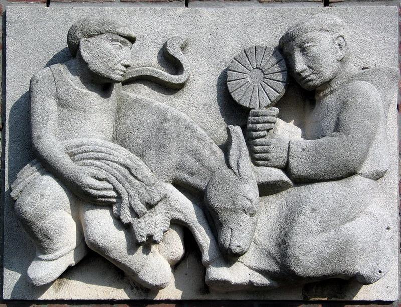 Gevelsteen St Antonius-kunstenaar onbekend-gevelsteen nu ingebouwd 1