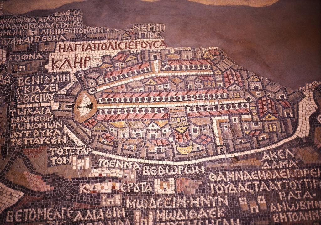 Madaba mozaiek - deel Jeruzalem Foto Henk Butink_1700pix