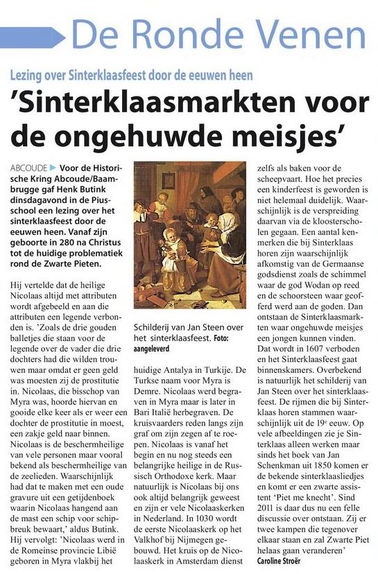 2016-12-01 Witte Weekblad His Kring Abcoude-Baambrugge Sinterklaaspresentatie
